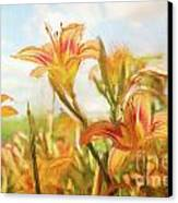 Digital Painting Of Orange Daylilies Canvas Print