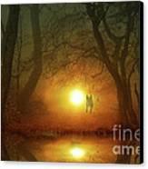 Dog At Sunset Canvas Print by Bruno Santoro