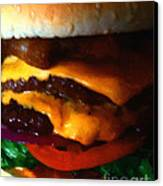 Double Cheeseburger With Bacon - Painterly Canvas Print