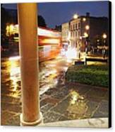 Double Decker Blur In The Rain Canvas Print
