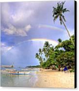 Double Rainbow At The Beach Canvas Print by Yhun Suarez