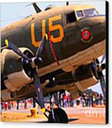Douglas C47 Skytrain Military Aircraft . Painterly Style . 7d15774 Canvas Print by Wingsdomain Art and Photography