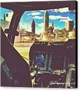 #downtown #cleveland #ohio Threw The Canvas Print by Pete Michaud