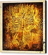 Dragon Painting On Old Paper Canvas Print by Setsiri Silapasuwanchai