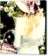 Dreamy Cottage Chic Girl Holding Basket Roses Canvas Print
