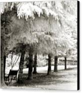 Dreamy Surreal Infrared Park Bench Landscape Canvas Print by Kathy Fornal