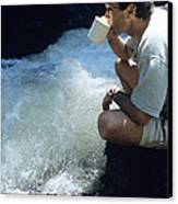 Drinking From A Stream Canvas Print by Alan Sirulnikoff