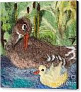 Duck And Duckling Canvas Print