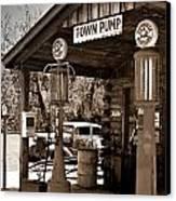 Early Gas Station Canvas Print by Douglas Barnett