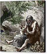 Early Human Making Pottery Canvas Print