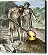 Early Humans Smelting Bronze Canvas Print by Sheila Terry