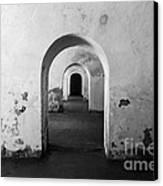 El Morro Fort Barracks Arched Doorways San Juan Puerto Rico Prints Black And White Canvas Print