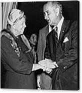 Eleanor Roosevelt Shaking Hands Canvas Print