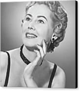 Elegant Woman Posing In Studio, (b&w), Portrait Canvas Print