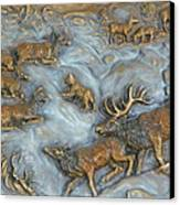 Elk And Bobcat In Winter Canvas Print by Dawn Senior-Trask