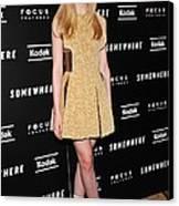 Elle Fanning Wearing A Rodarte Dress Canvas Print by Everett