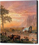 Emigrants Crossing The Plains Canvas Print by Photo Researchers