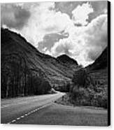 Empty Main Road Through Glencoe Highland Scotland Uk Canvas Print by Joe Fox