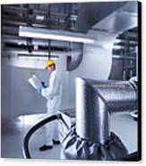 Engineer Servicing Air Conditioning Canvas Print