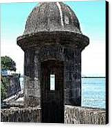 Entrance To Sentry Tower Castillo San Felipe Del Morro Fortress San Juan Puerto Rico Poster Edges Canvas Print by Shawn O'Brien