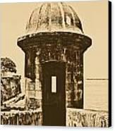 Entrance To Sentry Tower Castillo San Felipe Del Morro Fortress San Juan Puerto Rico Rustic Canvas Print by Shawn O'Brien
