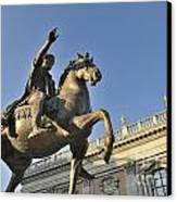 Equestrain Statue Of Emperor Marcus Aurelius In Piazza Del Campidoglio.capitoline Hill. Rome. Italy. Canvas Print by Bernard Jaubert
