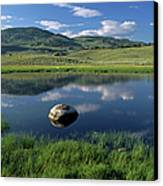 Erratic Boulder And Small Pond In Lamar Valley Canvas Print by Altrendo Nature