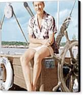 Errol Flynn Relaxing On His Yacht, Ca Canvas Print