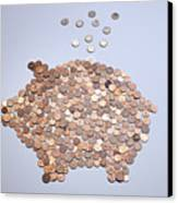 Euro Coins Falling Into A Piggy Bank Made From Arranged European Coins Canvas Print by Larry Washburn
