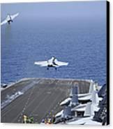 Fa-18f Super Hornets Launch Canvas Print