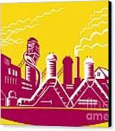 Factory Building Power Plant Retro Canvas Print by Aloysius Patrimonio