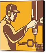 Factory Worker Operator With Drill Press Retro Canvas Print