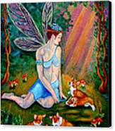 Fae And Corgi Pups Canvas Print by Lyn Cook