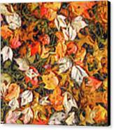 Fall Autumn Leaves On Water Canvas Print