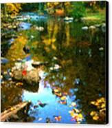 Fall Color At The River Canvas Print by Suni Roveto