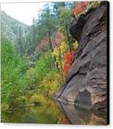 Fall Peeks From Behind The Rocks Canvas Print by Heather Kirk