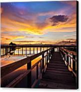 Fantastic Sky On Wood Bridge Canvas Print by Arthit Somsakul