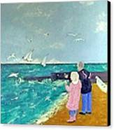 Feeding The Gulls Canvas Print by Peter Edward Green