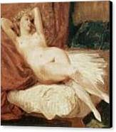 Female Nude Reclining On A Divan Canvas Print by Eugene Delacroix