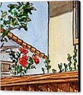 Fence And Roses Sketchbook Project Down My Street Canvas Print by Irina Sztukowski