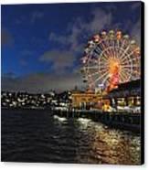 ferris wheel at night in Sydney Harbour Canvas Print by Jacques Van Niekerk