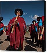 Festival De Danzas Tradicionales En La Poblacion De Copusquia. Republica De Bolivia. Canvas Print by Eric Bauer