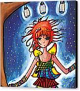 Firefly Girl Canvas Print by Jen Kiddo