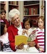 First Lady Barbara Bush Reads Canvas Print