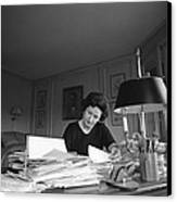 First Lady, Lady Bird Johnson, Working Canvas Print by Everett
