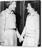 First Lady Patricia Nixon Hold Hands Canvas Print by Everett