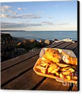 Fish 'n' Chips By The Beach Canvas Print by Rob Hawkins