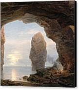 Fisherman In A Grotto Helgoland Canvas Print by Christian Ernst Bernhard Morgenstern