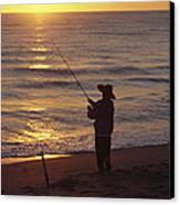 Fishing At Sunrise Canvas Print by Raymond Gehman