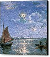 Fishing Boats By Moonlight Canvas Print by Alfred Wahlberg
